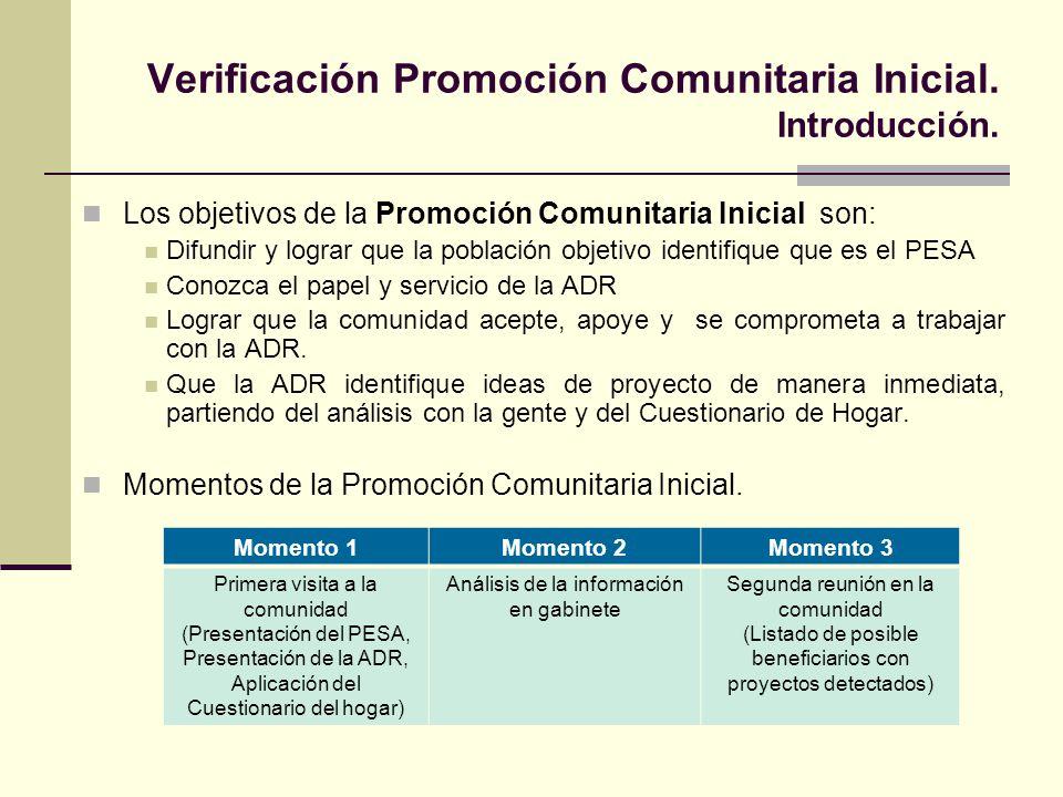 Verificación Promoción Comunitaria Inicial. Introducción.
