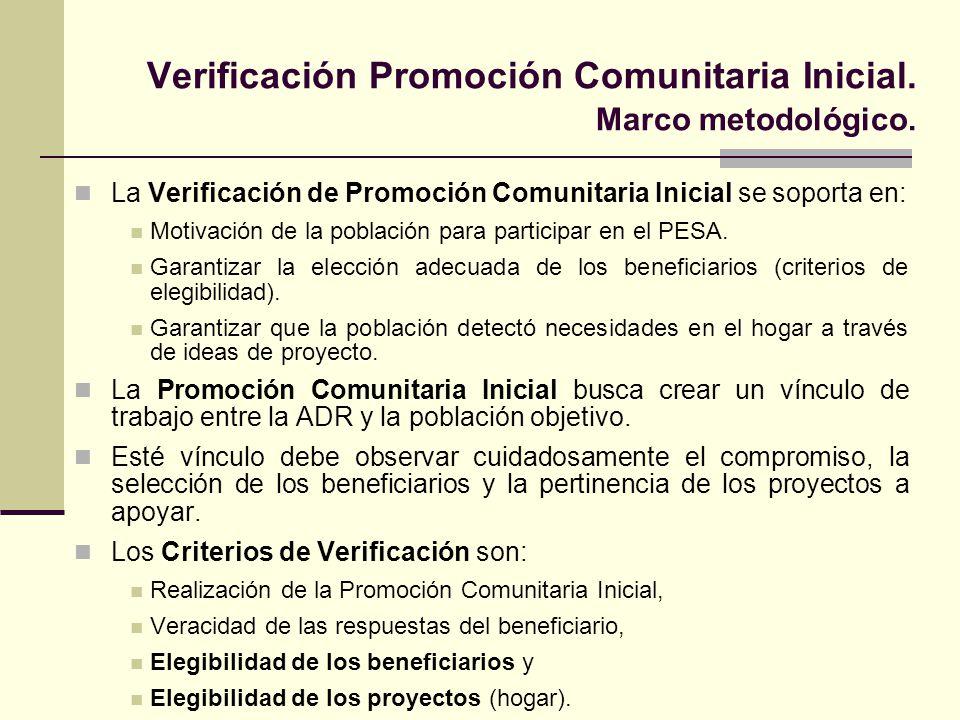 Verificación Promoción Comunitaria Inicial. Marco metodológico.