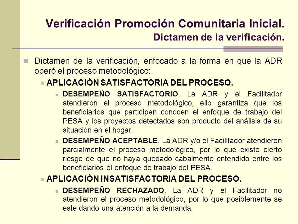 Verificación Promoción Comunitaria Inicial. Dictamen de la verificación.
