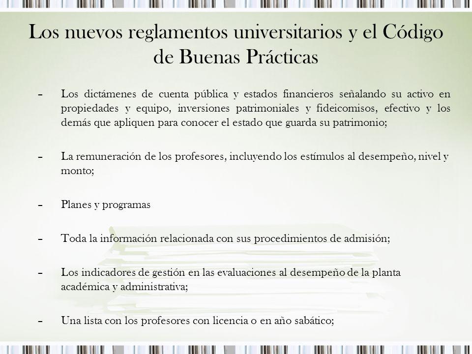 Los nuevos reglamentos universitarios y el Código de Buenas Prácticas