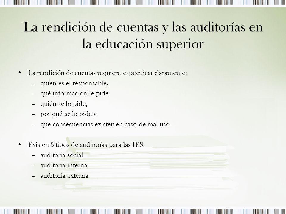 La rendición de cuentas y las auditorías en la educación superior