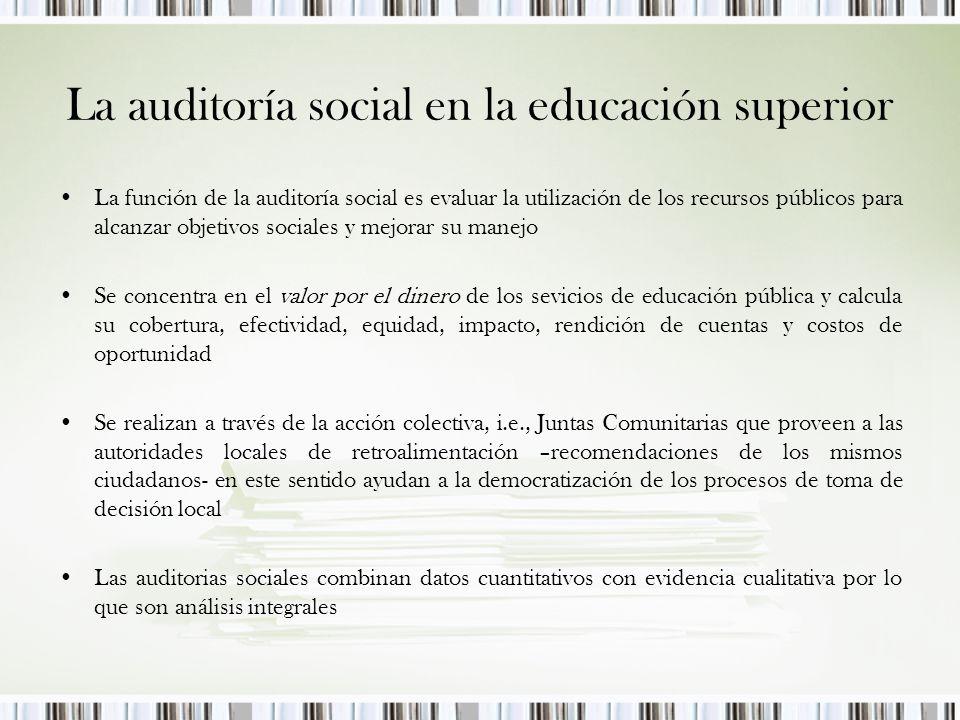 La auditoría social en la educación superior