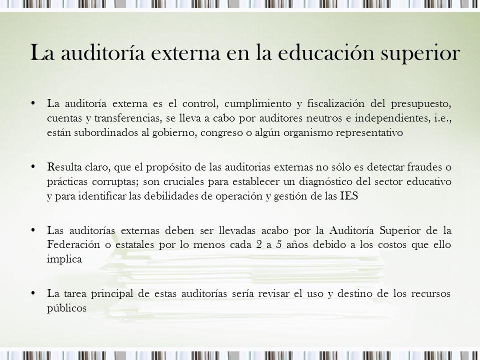 La auditoría externa en la educación superior