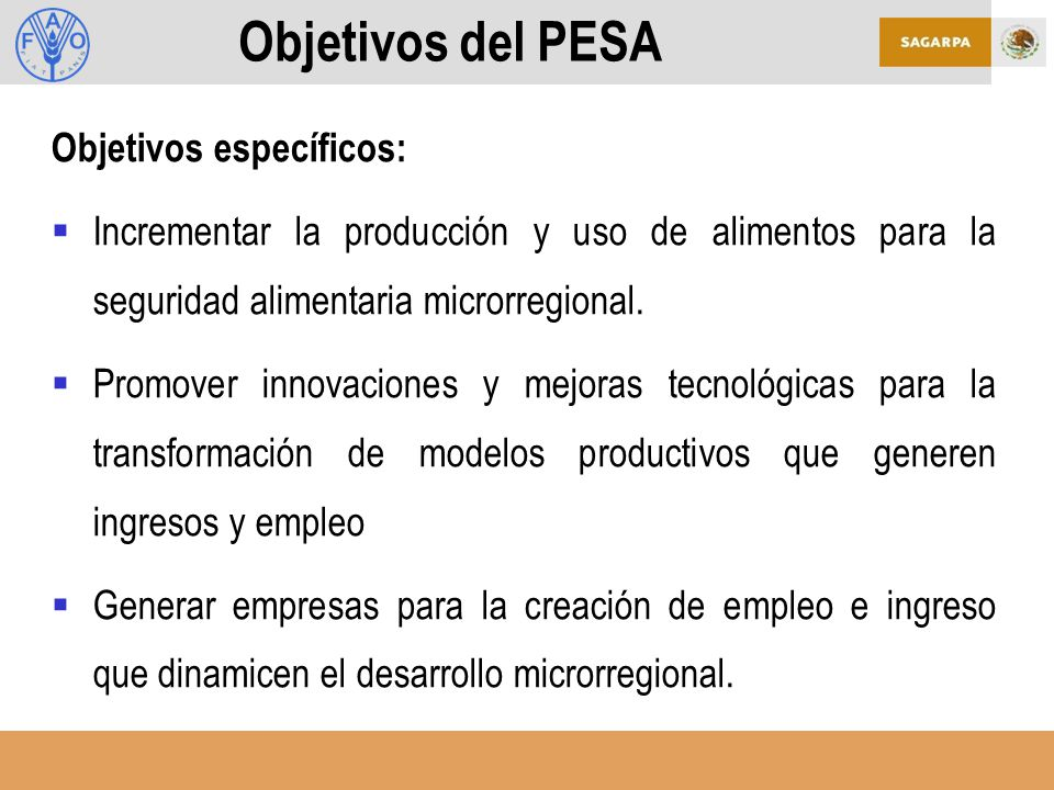 Objetivos del PESA Objetivos específicos:
