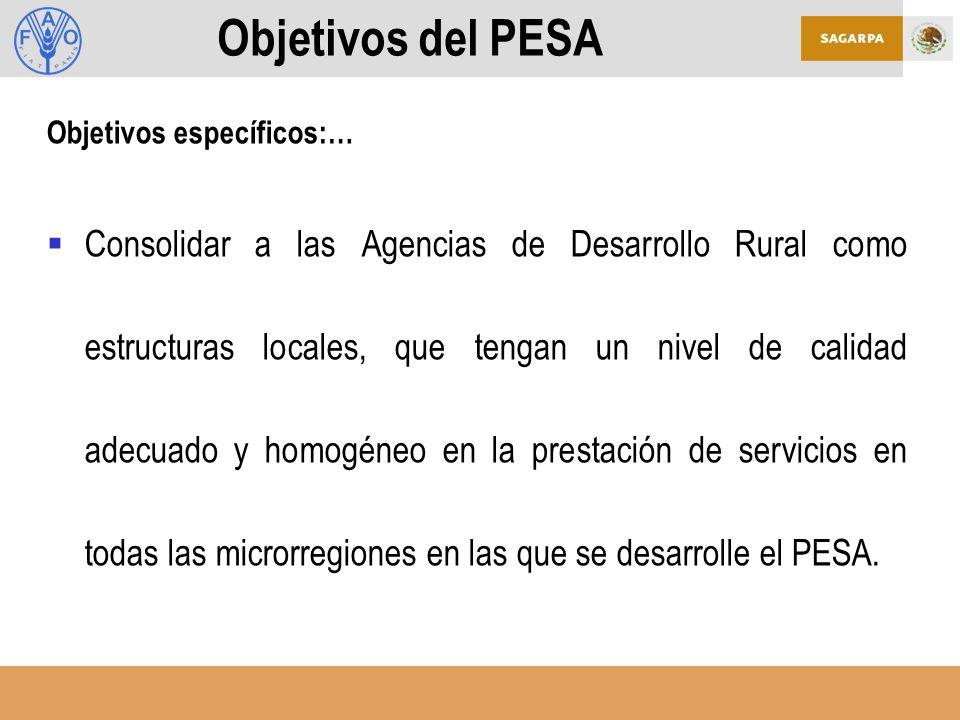 Objetivos del PESA Objetivos específicos:…