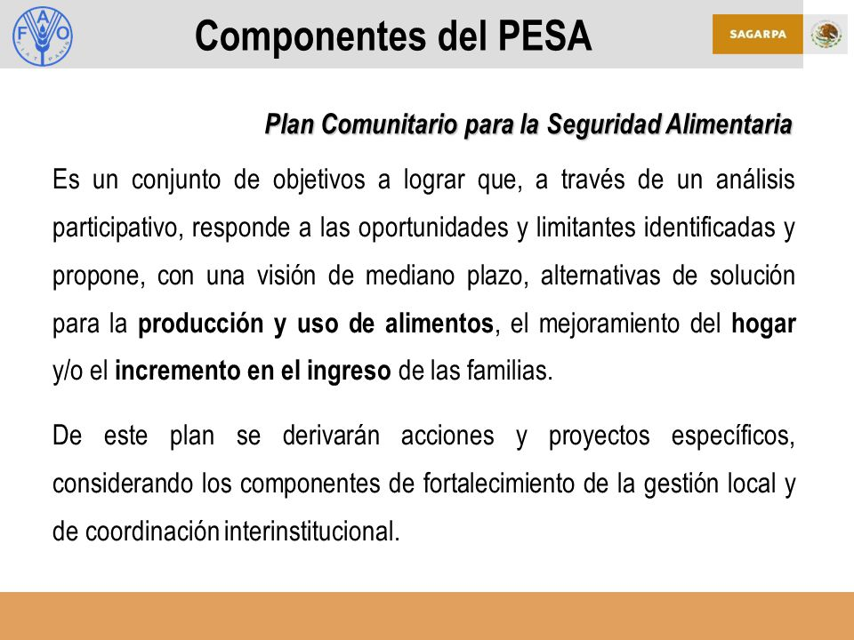 Componentes del PESA Plan Comunitario para la Seguridad Alimentaria