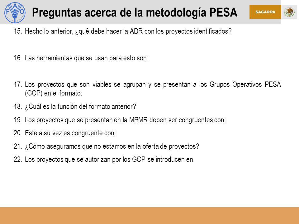Preguntas acerca de la metodología PESA