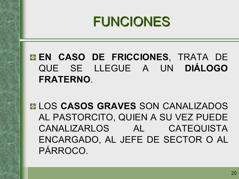 FUNCIONES EN CASO DE FRICCIONES, TRATA DE QUE SE LLEGUE A UN DIÁLOGO FRATERNO.