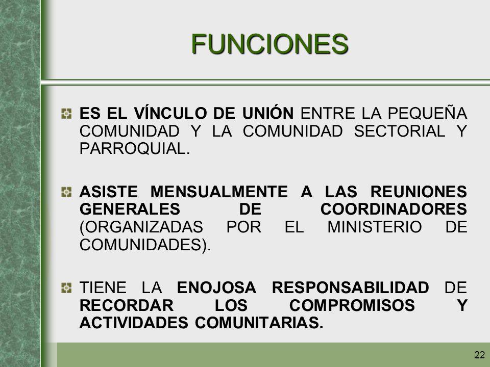 FUNCIONES ES EL VÍNCULO DE UNIÓN ENTRE LA PEQUEÑA COMUNIDAD Y LA COMUNIDAD SECTORIAL Y PARROQUIAL.