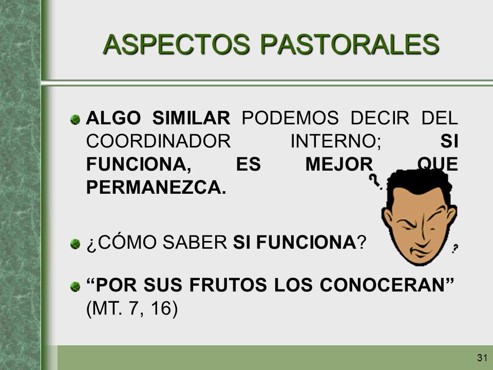ASPECTOS PASTORALES ALGO SIMILAR PODEMOS DECIR DEL COORDINADOR INTERNO; SI FUNCIONA, ES MEJOR QUE PERMANEZCA.