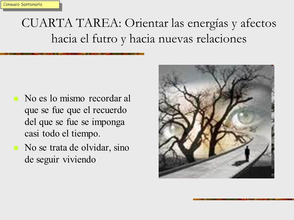 Consuelo Santamaría CUARTA TAREA: Orientar las energías y afectos hacia el futro y hacia nuevas relaciones.
