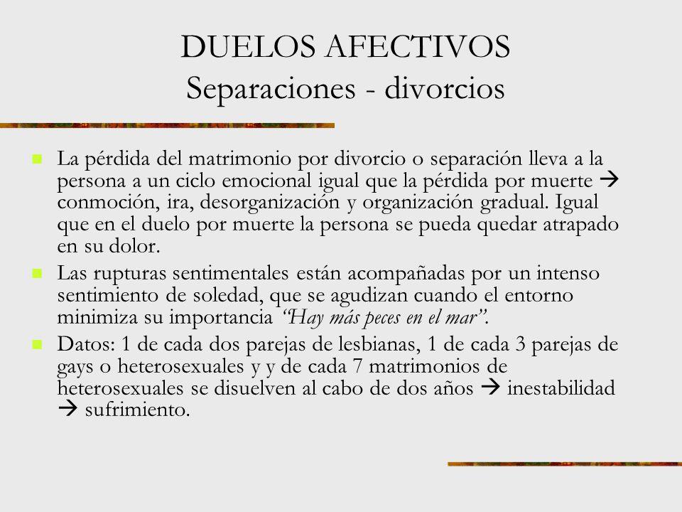 DUELOS AFECTIVOS Separaciones - divorcios