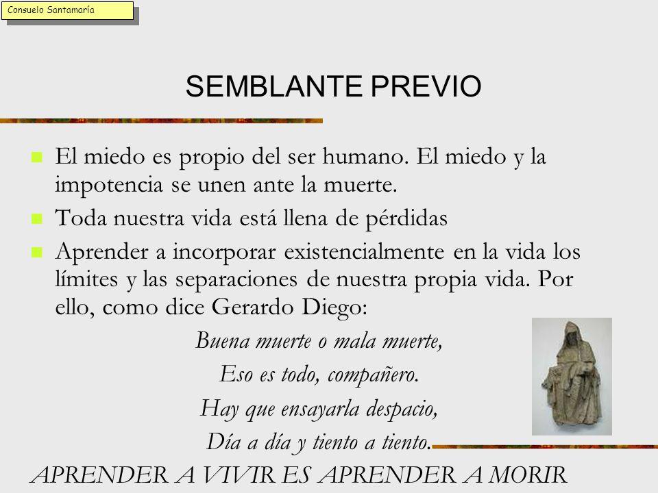 Consuelo Santamaría SEMBLANTE PREVIO. El miedo es propio del ser humano. El miedo y la impotencia se unen ante la muerte.