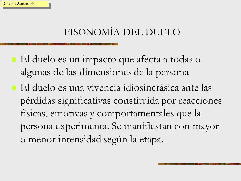 Consuelo Santamaría FISONOMÍA DEL DUELO. El duelo es un impacto que afecta a todas o algunas de las dimensiones de la persona.