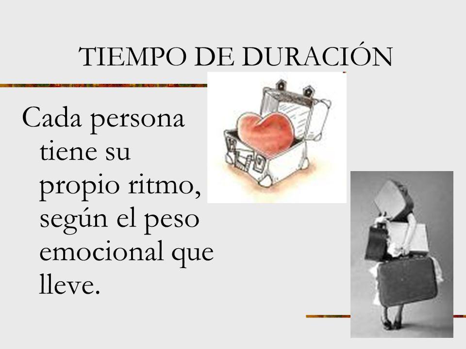 Cada persona tiene su propio ritmo, según el peso emocional que lleve.