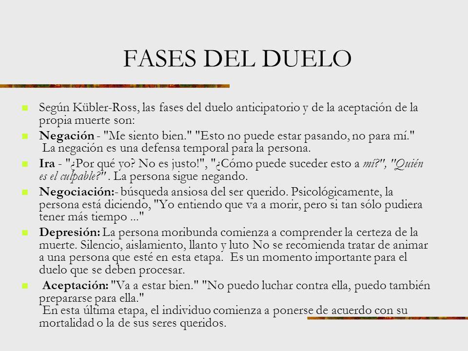 FASES DEL DUELO Según Kübler-Ross, las fases del duelo anticipatorio y de la aceptación de la propia muerte son: