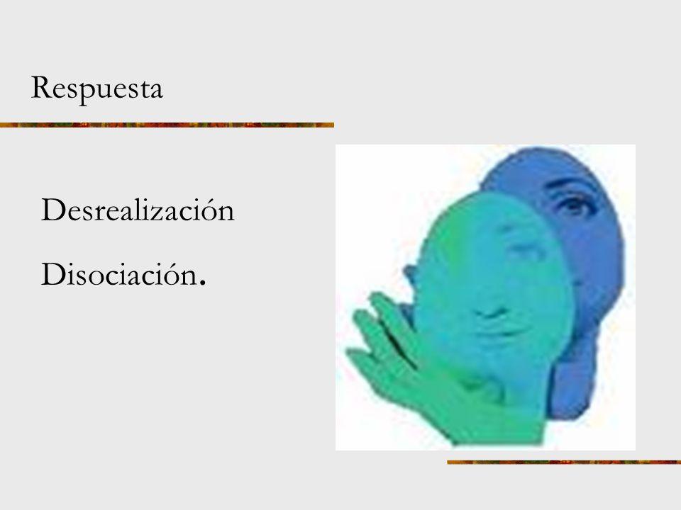 Respuesta Desrealización Disociación.
