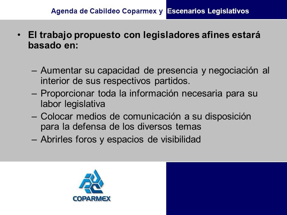 El trabajo propuesto con legisladores afines estará basado en:
