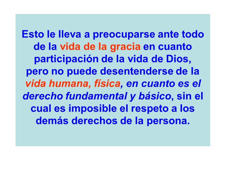 Esto le lleva a preocuparse ante todo de la vida de la gracia en cuanto participación de la vida de Dios,