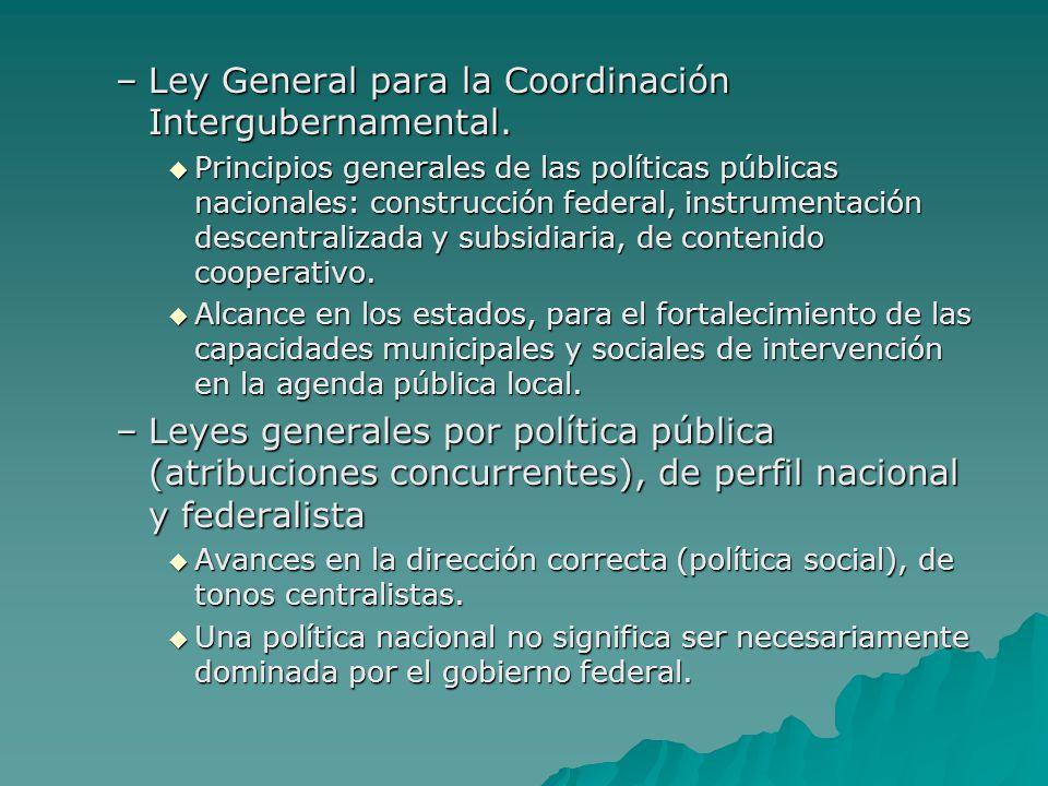 Ley General para la Coordinación Intergubernamental.