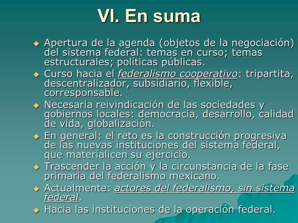 VI. En suma Apertura de la agenda (objetos de la negociación) del sistema federal: temas en curso; temas estructurales; políticas públicas.