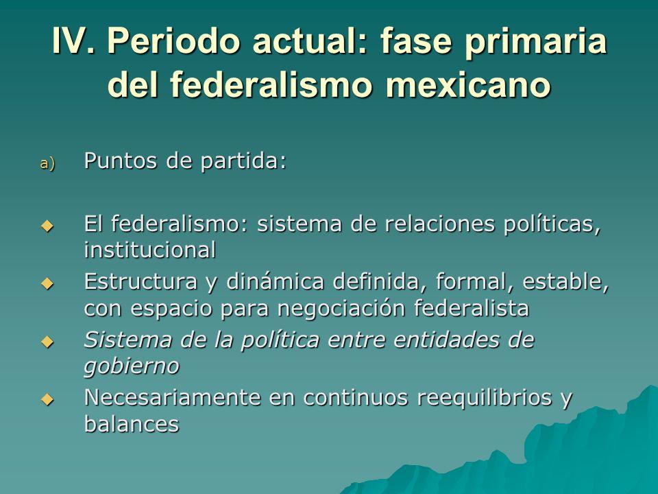 IV. Periodo actual: fase primaria del federalismo mexicano