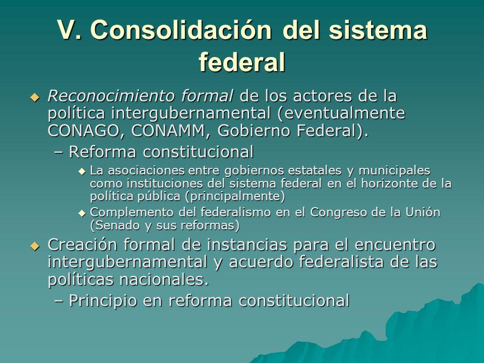 V. Consolidación del sistema federal