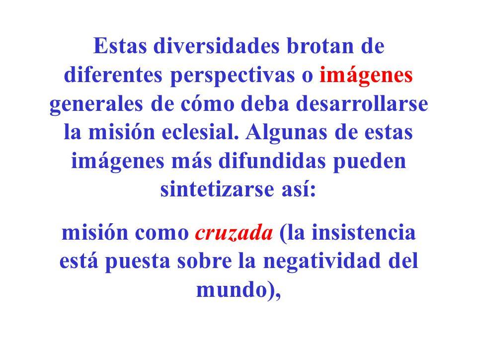 Estas diversidades brotan de diferentes perspectivas o imágenes generales de cómo deba desarrollarse la misión eclesial. Algunas de estas imágenes más difundidas pueden sintetizarse así: