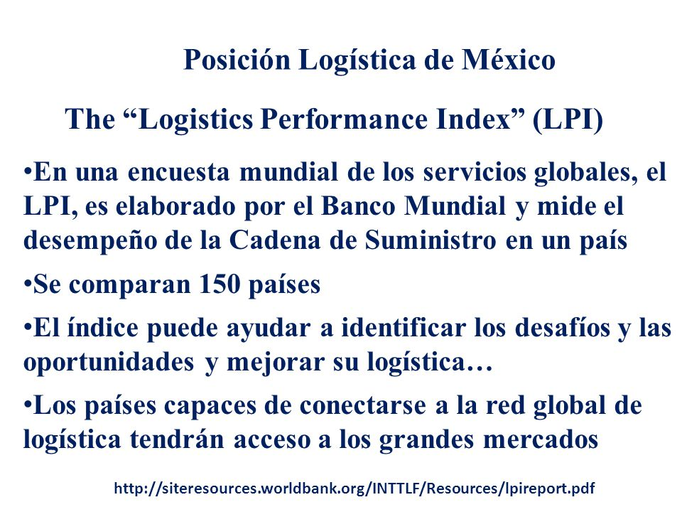 The Logistics Performance Index (LPI)