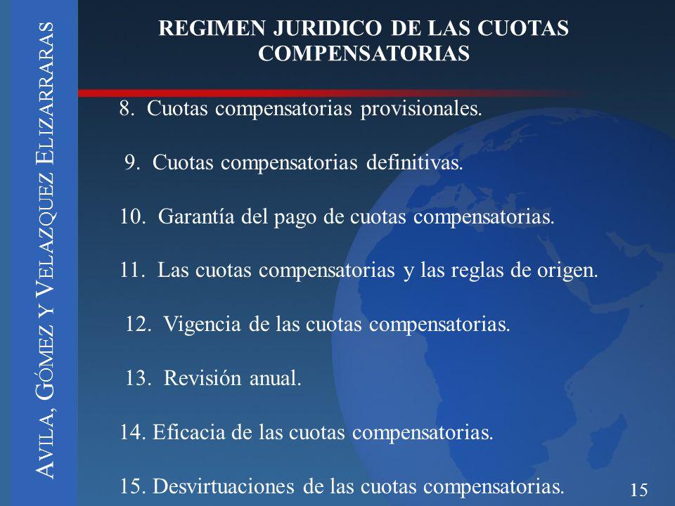 REGIMEN JURIDICO DE LAS CUOTAS COMPENSATORIAS