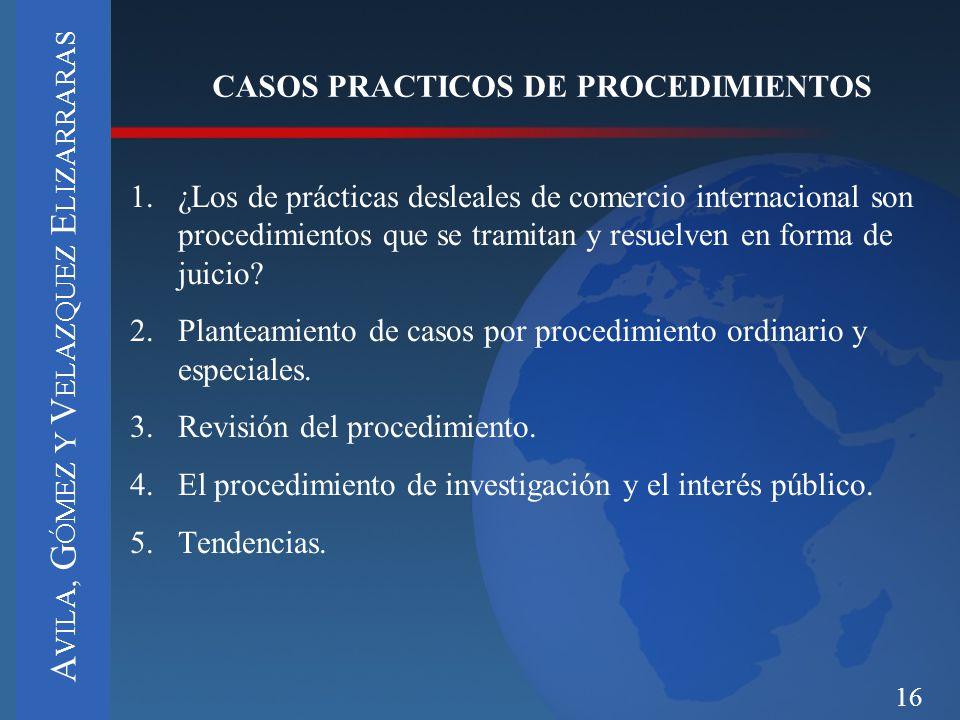 CASOS PRACTICOS DE PROCEDIMIENTOS