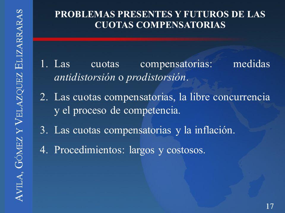 PROBLEMAS PRESENTES Y FUTUROS DE LAS CUOTAS COMPENSATORIAS