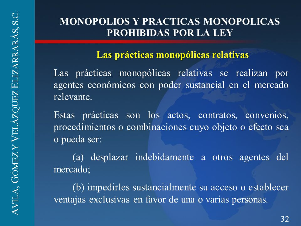 MONOPOLIOS Y PRACTICAS MONOPOLICAS PROHIBIDAS POR LA LEY