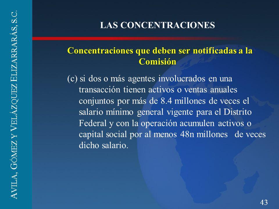 Concentraciones que deben ser notificadas a la Comisión