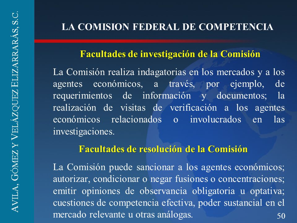 LA COMISION FEDERAL DE COMPETENCIA
