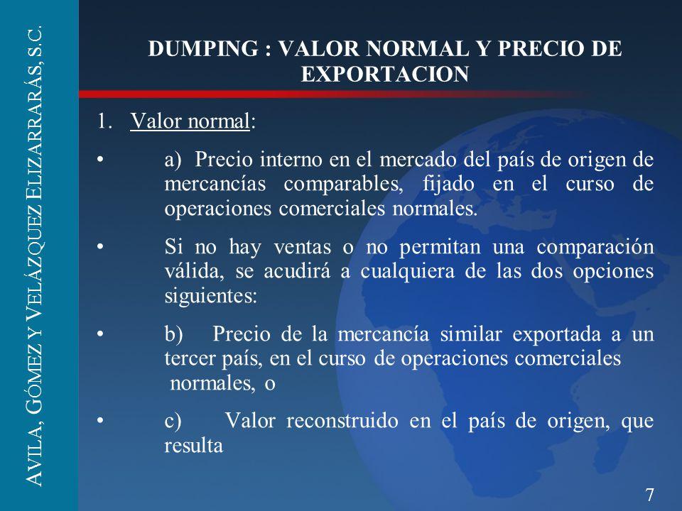 DUMPING : VALOR NORMAL Y PRECIO DE EXPORTACION