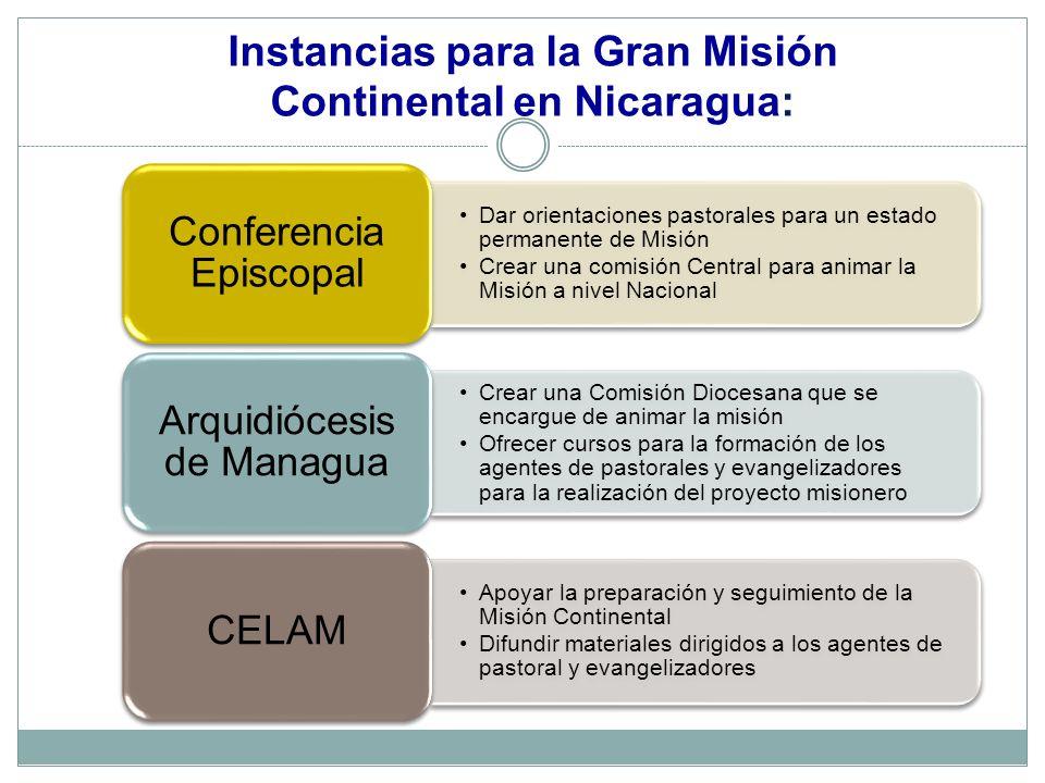 Instancias para la Gran Misión Continental en Nicaragua:
