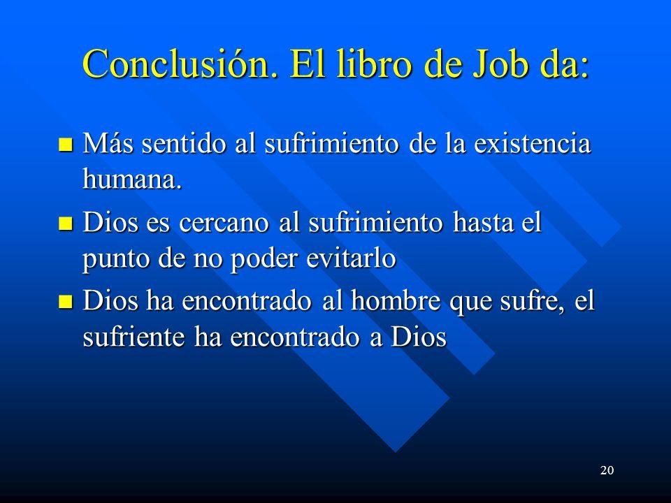 Conclusión. El libro de Job da: