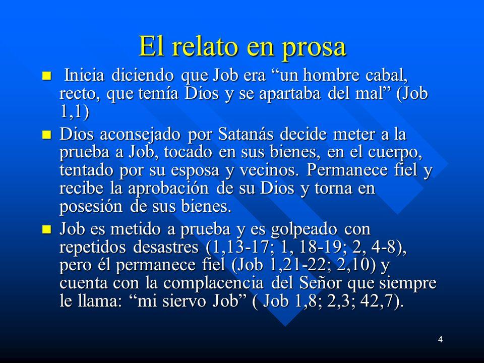 El relato en prosa Inicia diciendo que Job era un hombre cabal, recto, que temía Dios y se apartaba del mal (Job 1,1)