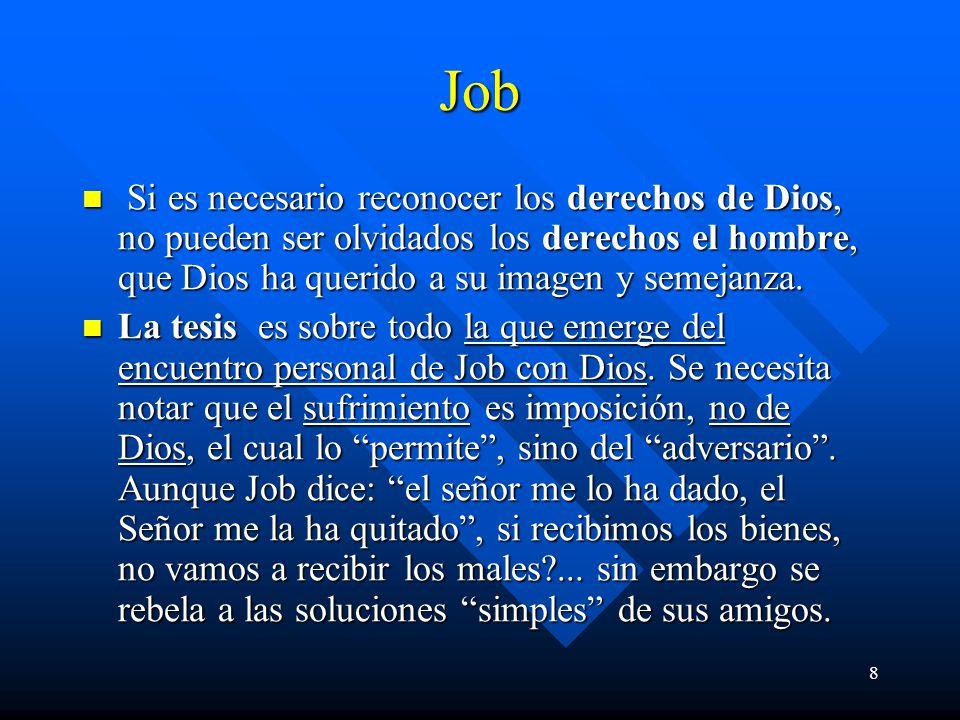 Job Si es necesario reconocer los derechos de Dios, no pueden ser olvidados los derechos el hombre, que Dios ha querido a su imagen y semejanza.