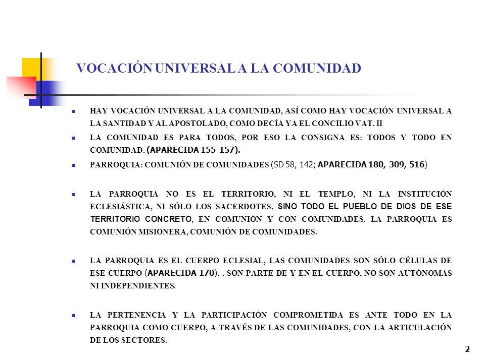 VOCACIÓN UNIVERSAL A LA COMUNIDAD