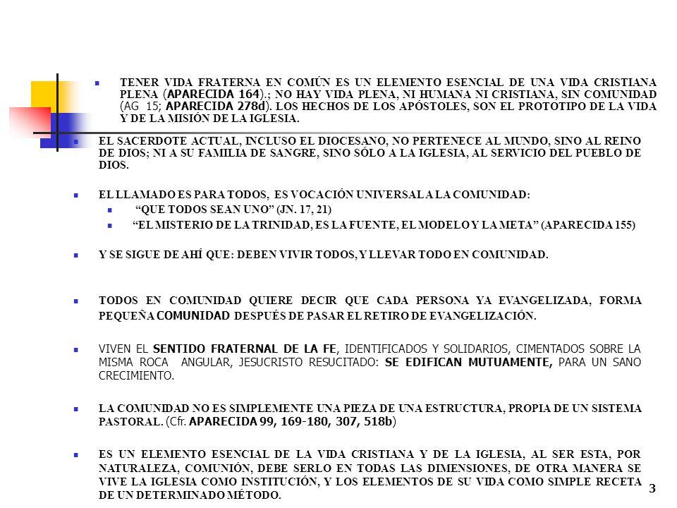 TENER VIDA FRATERNA EN COMÚN ES UN ELEMENTO ESENCIAL DE UNA VIDA CRISTIANA PLENA (APARECIDA 164).; NO HAY VIDA PLENA, NI HUMANA NI CRISTIANA, SIN COMUNIDAD (AG 15; APARECIDA 278d). LOS HECHOS DE LOS APÓSTOLES, SON EL PROTOTIPO DE LA VIDA Y DE LA MISIÓN DE LA IGLESIA.