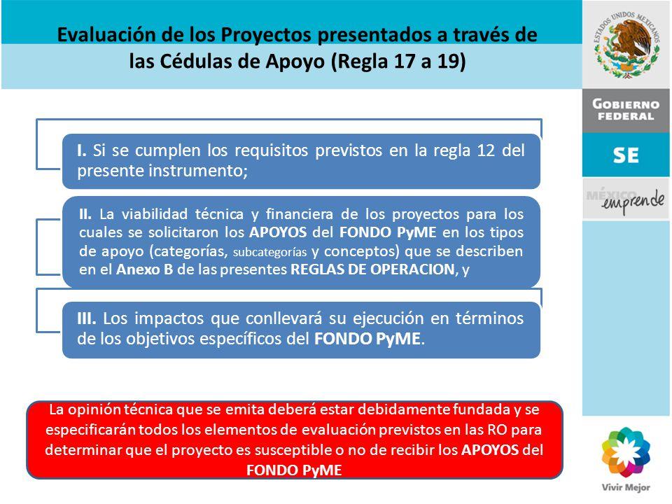 Evaluación de los Proyectos presentados a través de las Cédulas de Apoyo (Regla 17 a 19)