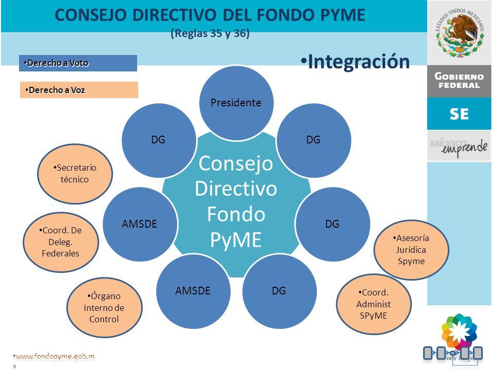 CONSEJO DIRECTIVO DEL FONDO PYME (Reglas 35 y 36)