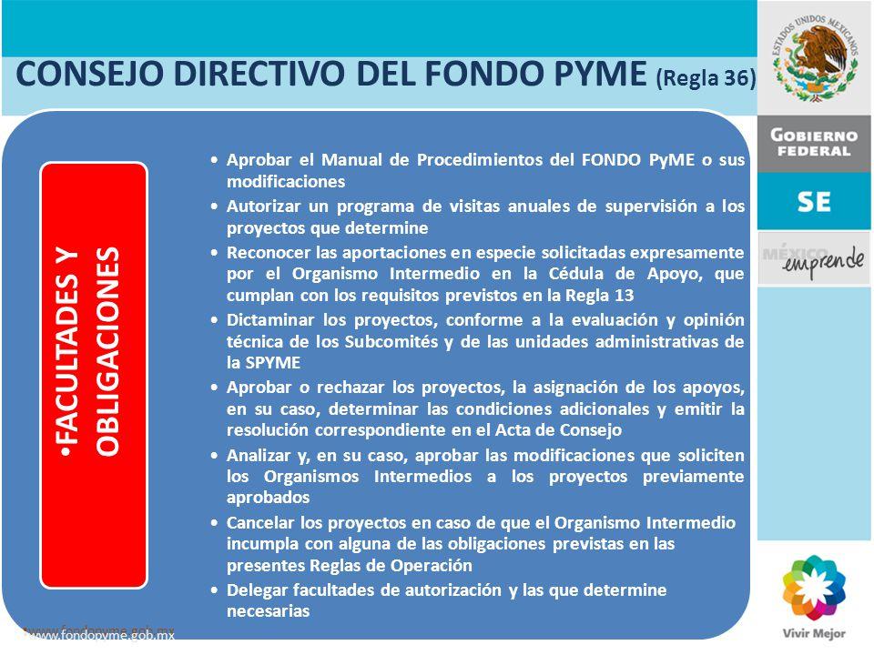 CONSEJO DIRECTIVO DEL FONDO PYME (Regla 36)