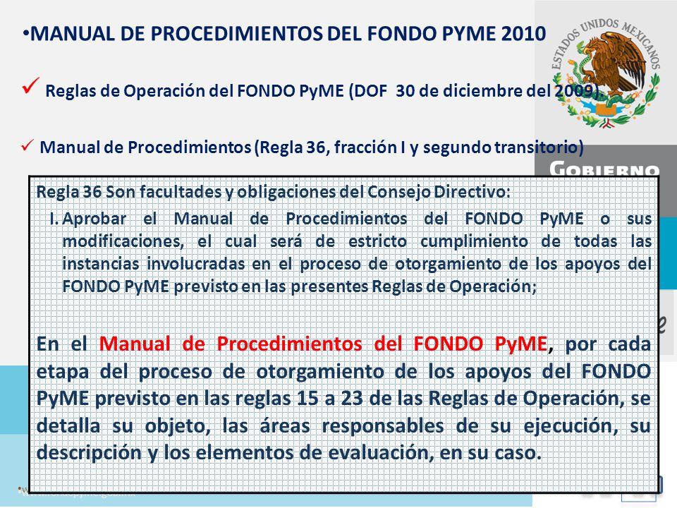 Reglas de Operación del FONDO PyME (DOF 30 de diciembre del 2009).