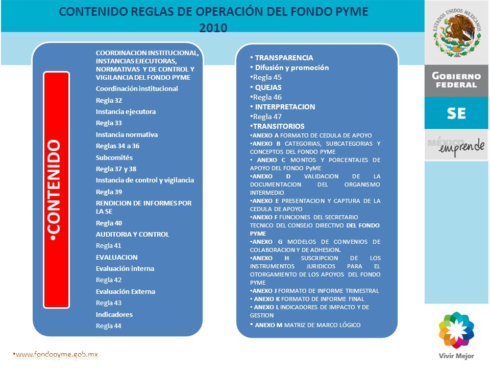 CONTENIDO REGLAS DE OPERACIÓN DEL FONDO PYME 2010