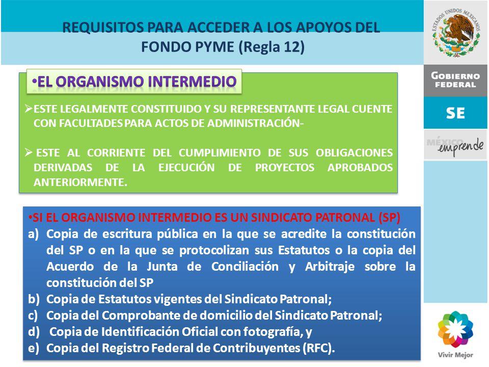 REQUISITOS PARA ACCEDER A LOS APOYOS DEL FONDO PYME (Regla 12)