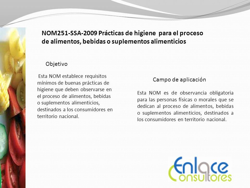 Enlace Consultores NOM251-SSA-2009 Prácticas de higiene para el proceso de alimentos, bebidas o suplementos alimenticios.