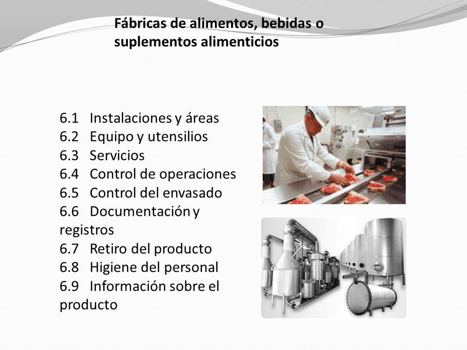 Fábricas de alimentos, bebidas o suplementos alimenticios